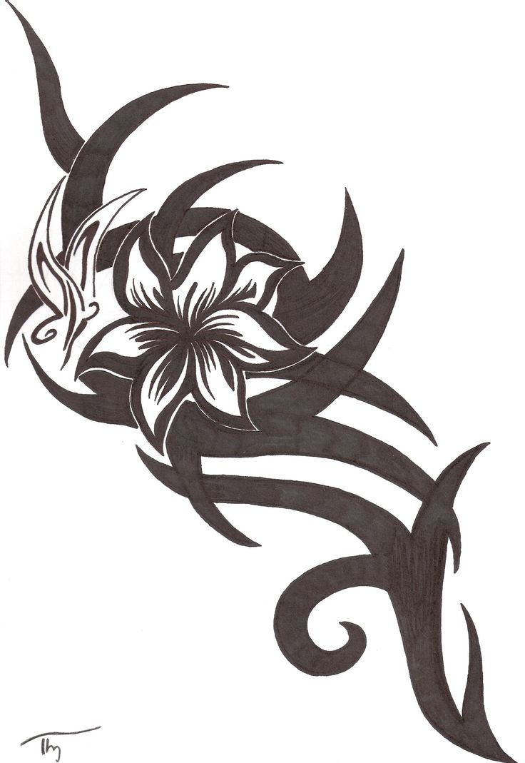 Tribal Butterfly Tattoos | Tribal Flower,Butterfly Tattoo by Lechadias To blend with existing rib?