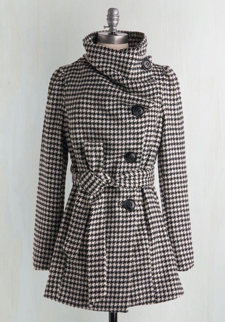Carefully Chosen Coat in Houndstooth | Mod Retro Vintage Coats | ModCloth.com