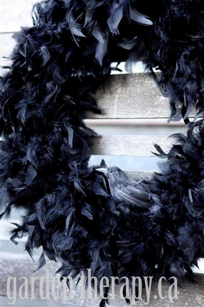 halloween crow feather wreath - Halloween Crow Decorations
