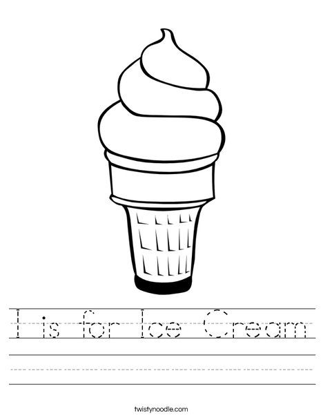 I is for Ice Cream Worksheet from