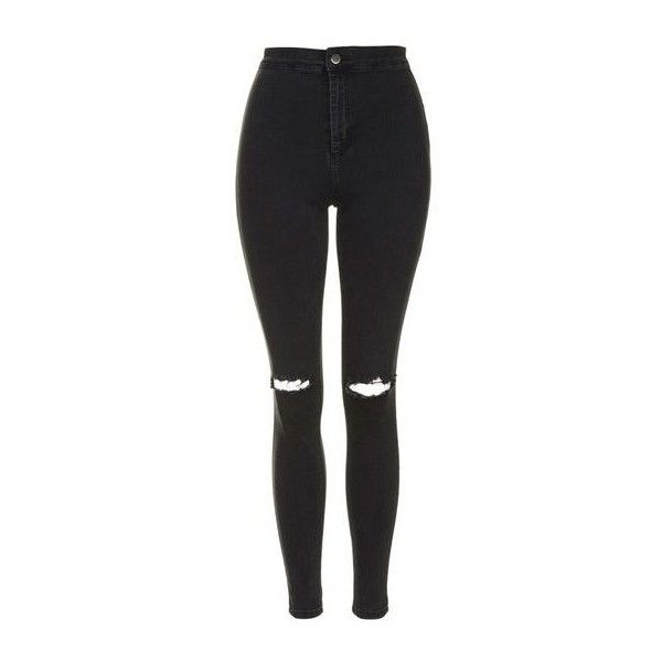 TopShop Petite Moto Ripped Joni Jeans (£38) ❤ liked on Polyvore featuring jeans, washed black, super high-waisted skinny jeans, zipper skinny jeans, high waisted jeans, stretch skinny jeans and high-waisted skinny jeans