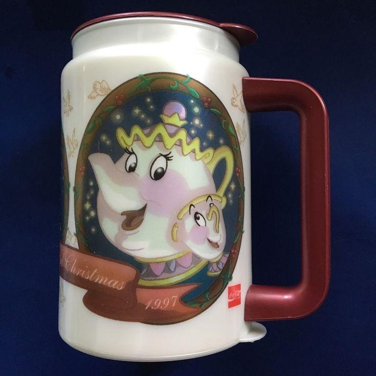 1997 Beauty And The Beast Disney Christmas Plastic Travel Mug Rare #Whirley