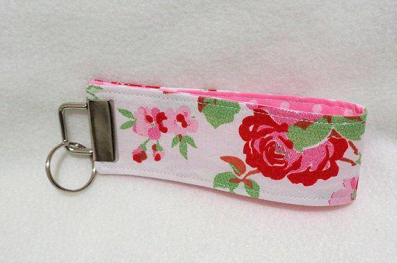 Cream Cath Kidston Fabric Wristlet Key Fob  Lanyard Keychain