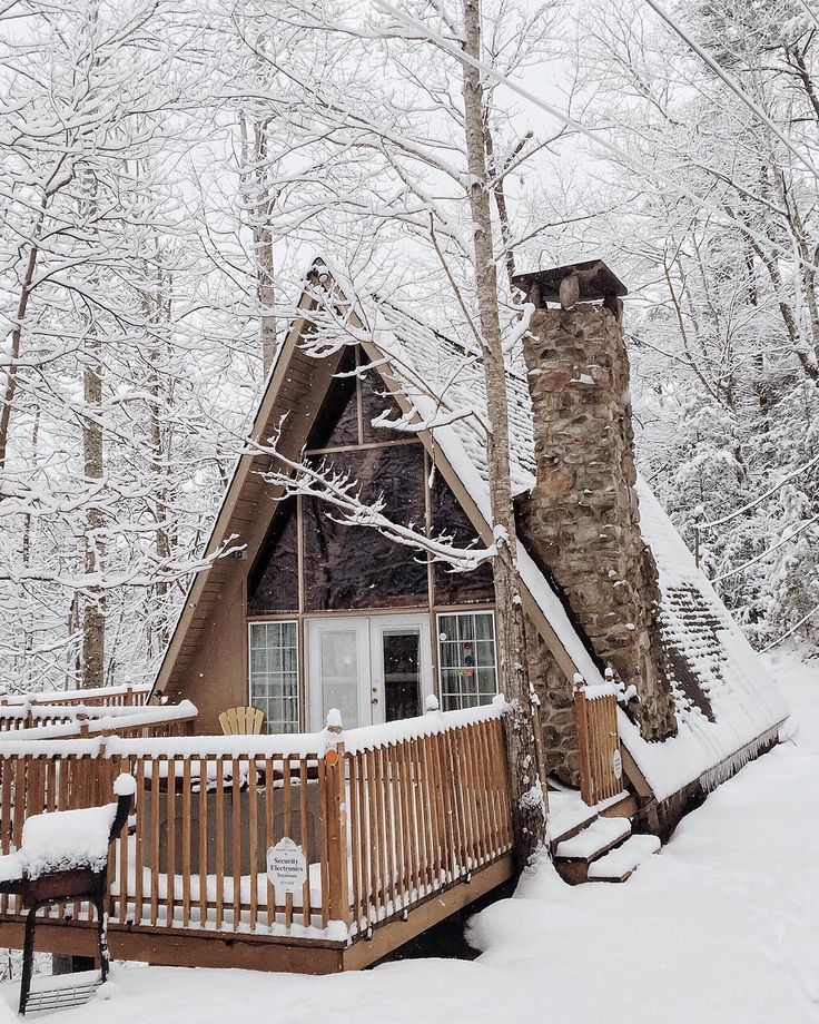 snow, stone chimney
