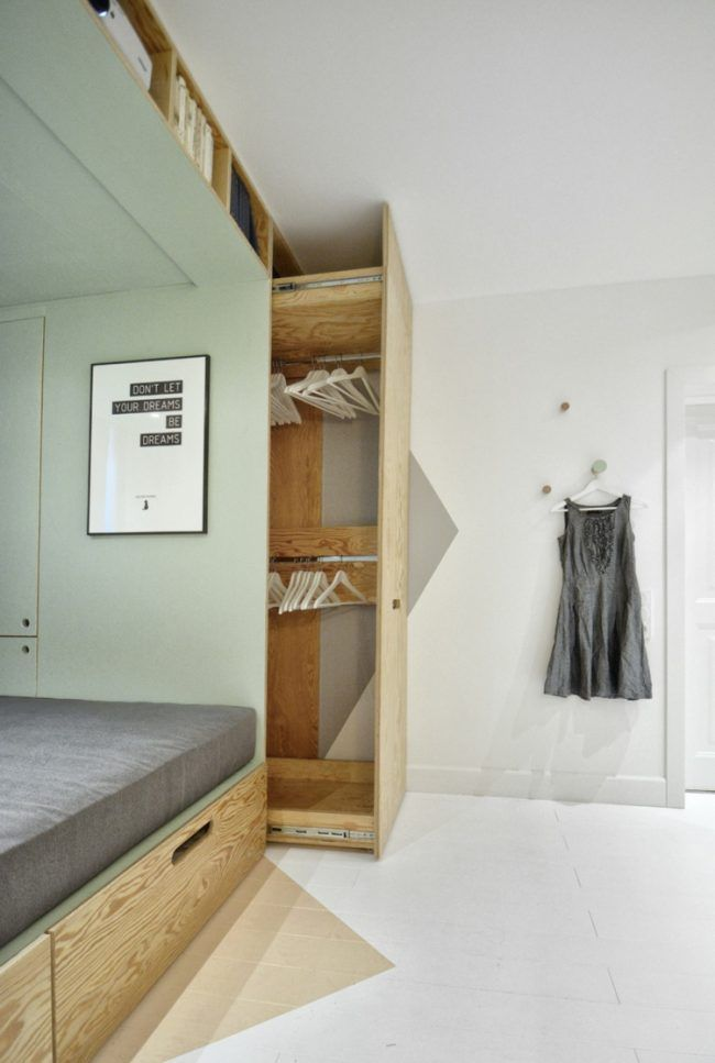 pull-out closet bed youth room green gray design