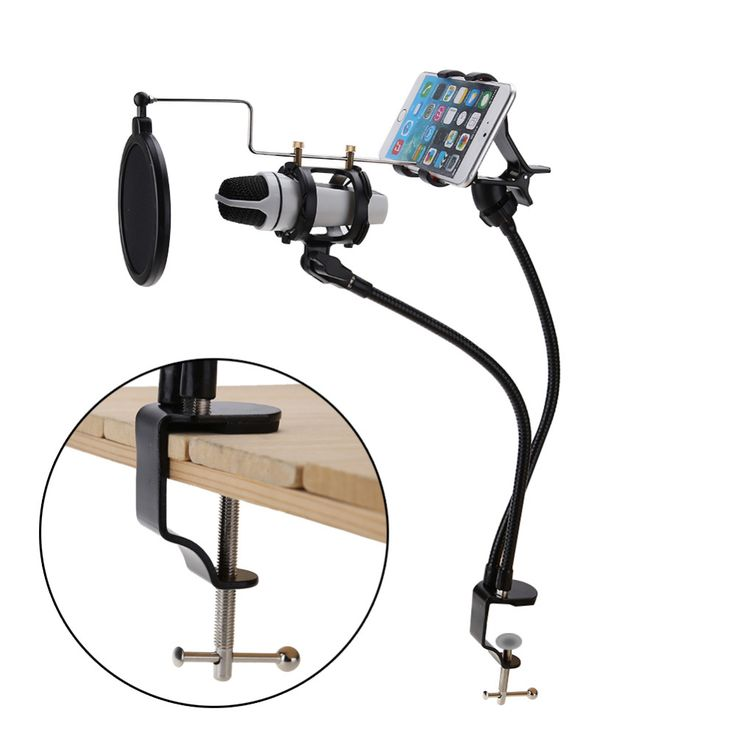 >> Click to Buy <<  Microphone & Phone Stand Holder Mount Set Support 360 Degree Recording the MV for 3.5-6inch Mobile Phone Microphone Phone Clip #Affiliate