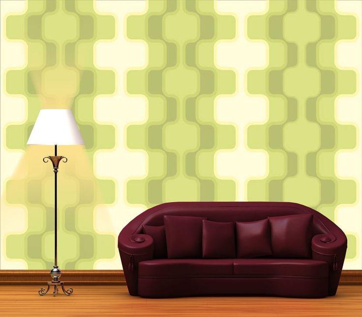 Fototapete Retromuster Grün Muster KT108 Größe 350x260cm Retro - wohnzimmer tapete grun