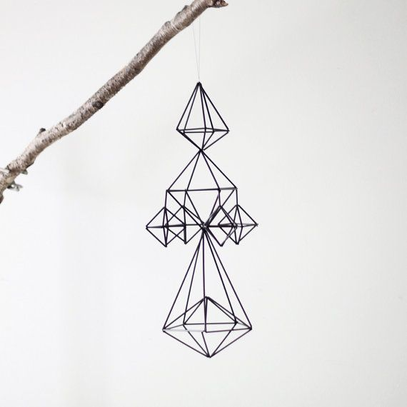 """himmeli no. 1 : modern straw mobile +  styled after a Finnish tradition, this sculptural himmeli mobile is delicate in its design but carries a strong geometric pattern. captivating piece which once coaxed turns with the slightest of breeze. a lovely minimalist addition to any space."" etsy / geometry / AM Radio / wireframe"