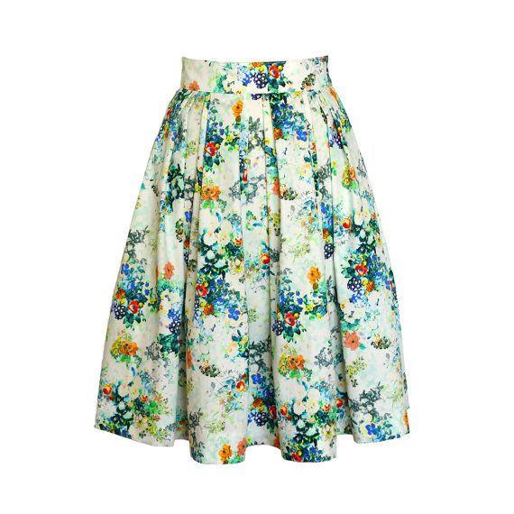 SALE  Gorgeous floral summer skirt S/M pleated by MMModeDesign
