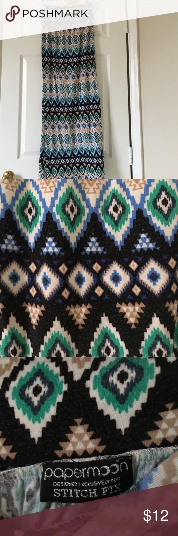 Paper moon stitch fix maxi skirt Size medium. Shows wash wear. Very comfy. Blue, green, brown, black ikat print. papermoon Skirts Maxi