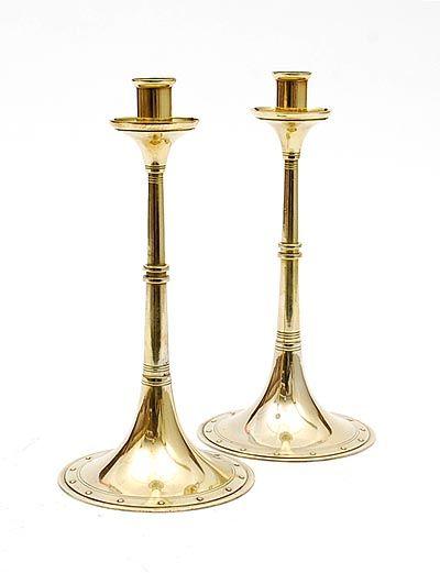 Brass Nieuwe Kunst New Art candleholders 2x design J.C.Stoffels 1904 executed by Onder den Sint Maarten Haarlem / the Netherlands