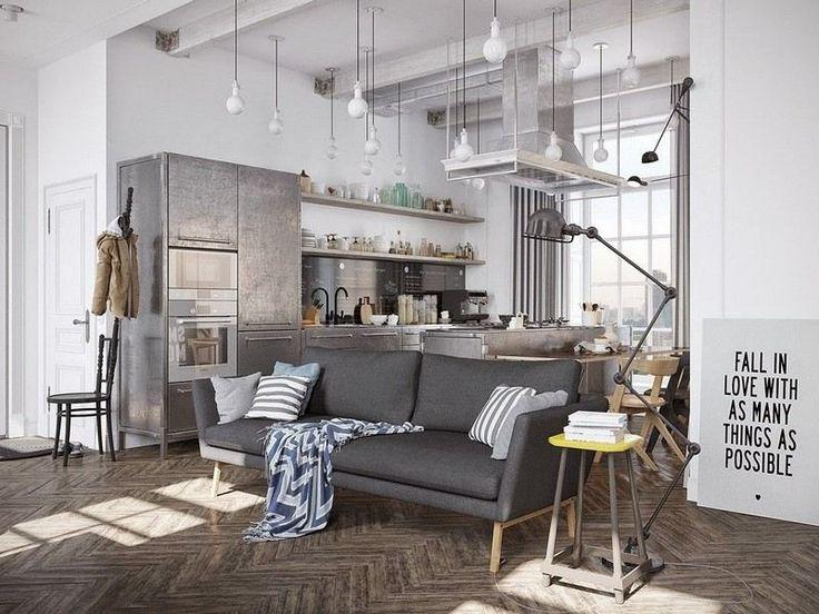 salon style industriel en blanc et gris amnag avec un canap gris graphite une table