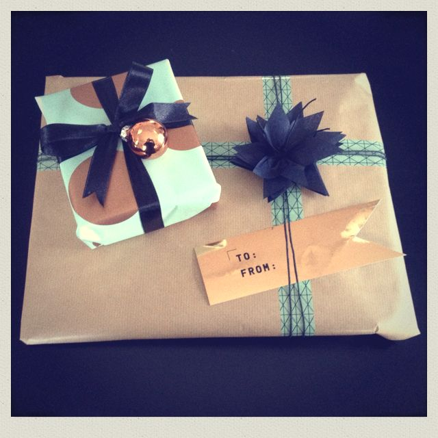 Mint, black and cobber gift wrapping...