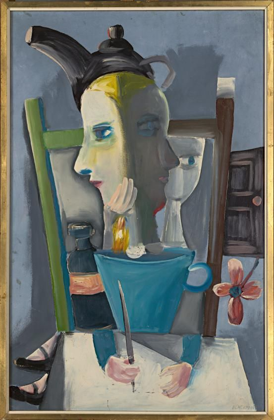 Janus face Alice with teapot crown  (1956)  Charles Blackman.( born 12 August 1928 Harbord, Sydney, New South Wales Nationality Australian )