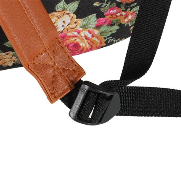 New Women Girl Vintage Cute Flower Schoolbag Bookbags Backpack Black Bag