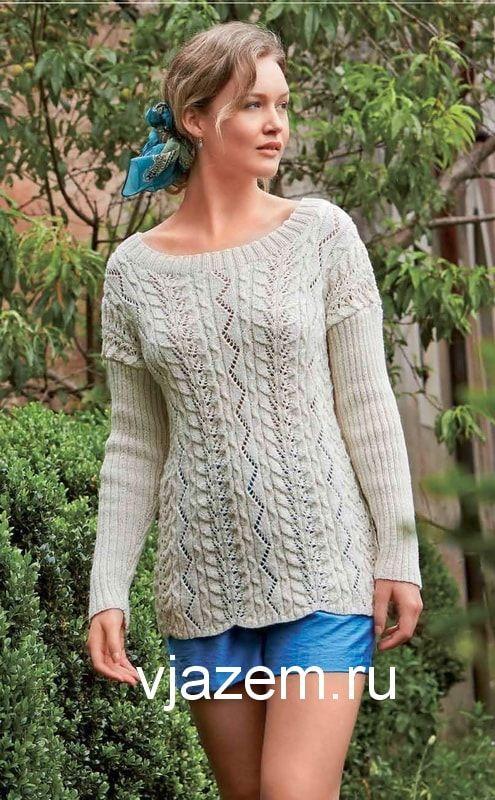 """Вязаный ажурный пуловер из журнала """"Вязание ваше хобби"""""""