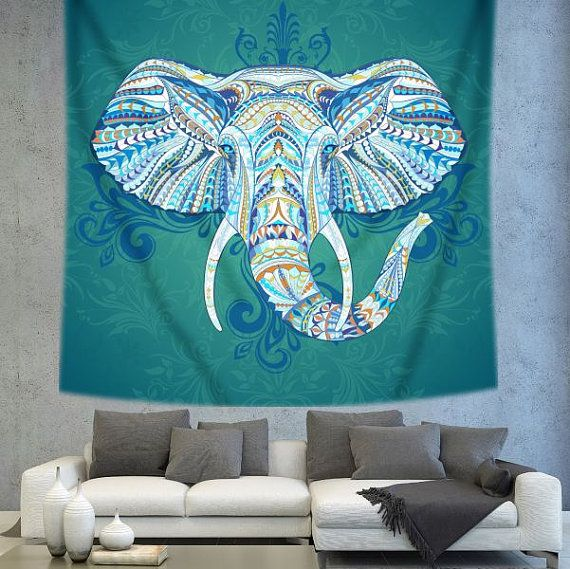 Bohemian elephant Wall tapestry Wall decor by Christinedecorshop