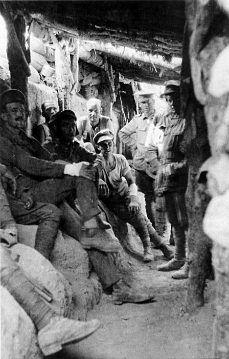 Australian soldiers, mainly from the 2nd and 3rd Battalions, in a Turkish trench captured during the Battle of Lone Pine, August 1915.