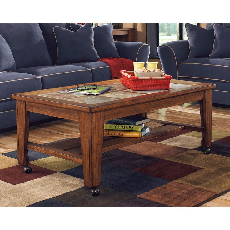 Attractive Signature Design By Ashley Toscana Rectangular Cocktail Table (Burnished  Brown) Design Inspirations