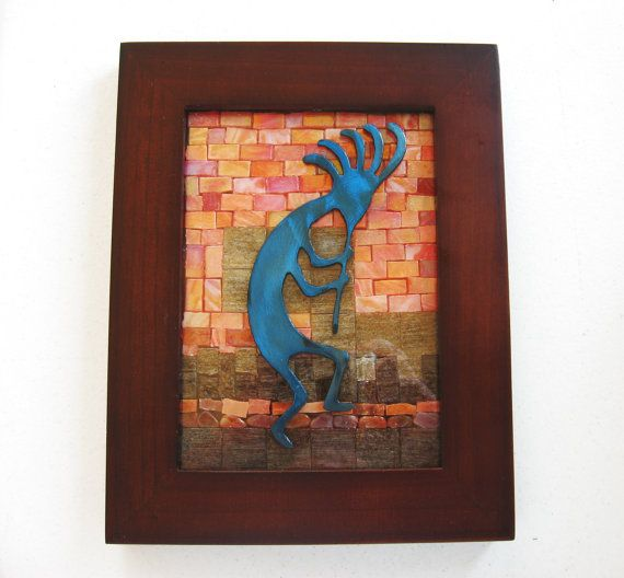 KOKOPELLI  MOSAIC OOAK Wall Art 7x9 Handcrafted with Southwestern metal art,mosaic tiles and natural stones