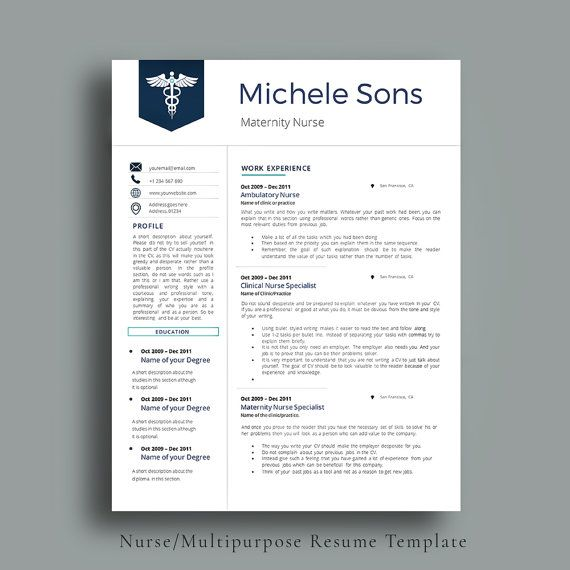 Professional Nurse Resume Template. Designed for Medical Professionals. Easy To Edit CV Template + Cover Letter + References Page by AvataDesigns