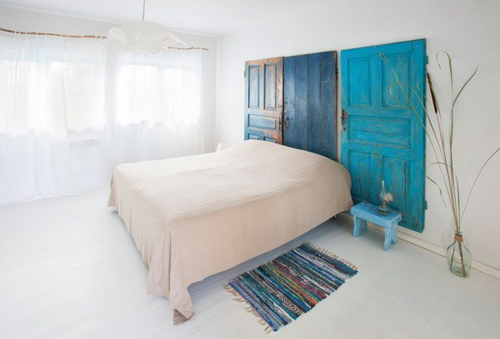Headboard, colour, old doors, blue doors
