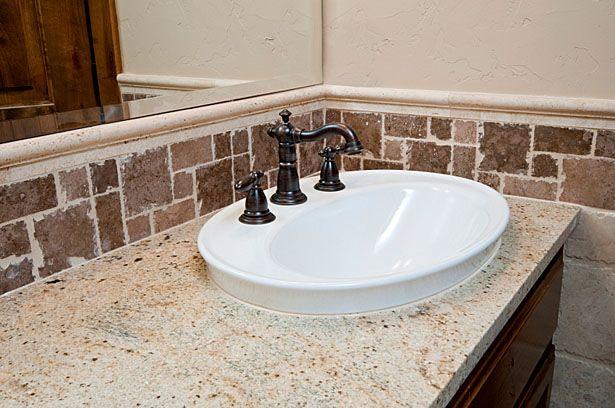 bathroom granite countertop with cherry cabinets - Google Search