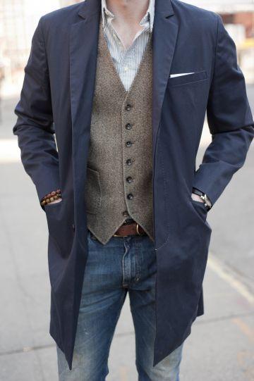 Yシャツ ベスト ロングコート チェスターコート デニムパンツ ベルト ストライプ ブラウン ネイビー ホワイト ブルー(薄)