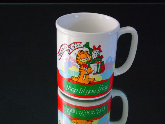 Shop Till You Drop  Garfield Cat Retro by 777VintageStreet on Etsy