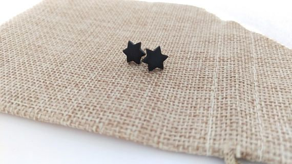 Hey, I found this really awesome Etsy listing at https://www.etsy.com/listing/552987407/black-star-earrings-polymer-clay