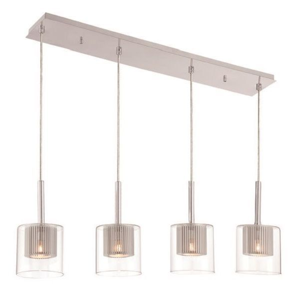 Decor Therapy Steel Glass Rectangular Pendant Light (Chrome), Silver (Aluminum)