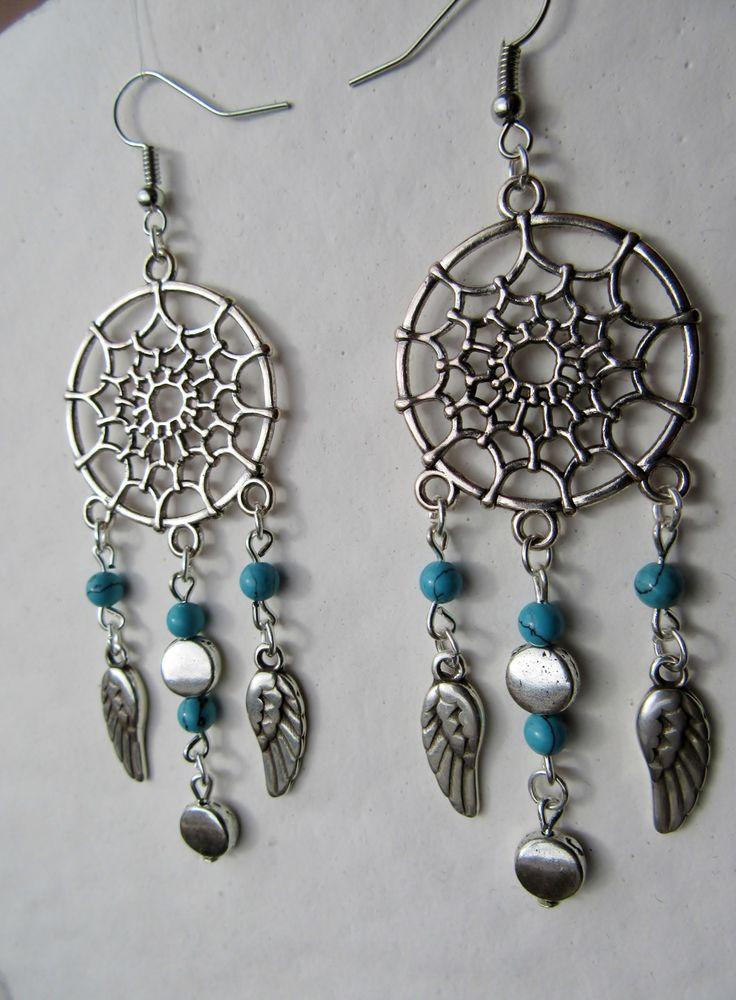 Boucles d'oreilles Attrape Rêve Métal argenté et Turquoise véritable : Boucles d'oreille par ma-petite-boutik