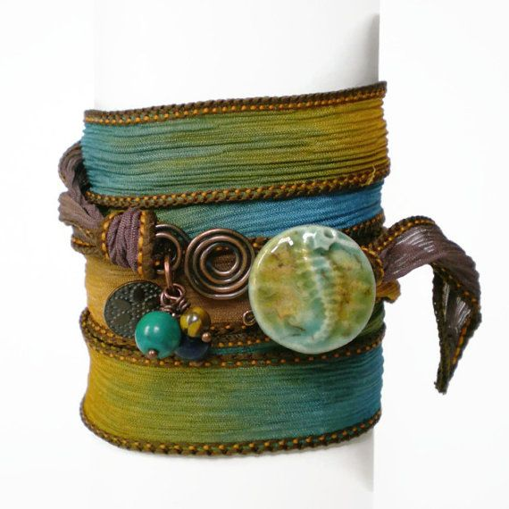 silk ribbon wrap bracelet seahorse ceramic button by jcudesigns, £16.00