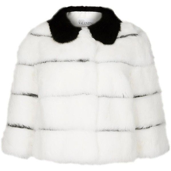 Womens Smart Jackets RED Valentino White Striped Fur Jacket (£1,355) ❤ liked on Polyvore featuring outerwear, jackets, white jacket, stripe jacket, red valentino, striped jacket and fur jacket