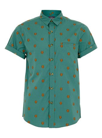 GREEN BEAR PRINT SHORT SLEEVE SHIRT - Mens Shirts  - Clothing