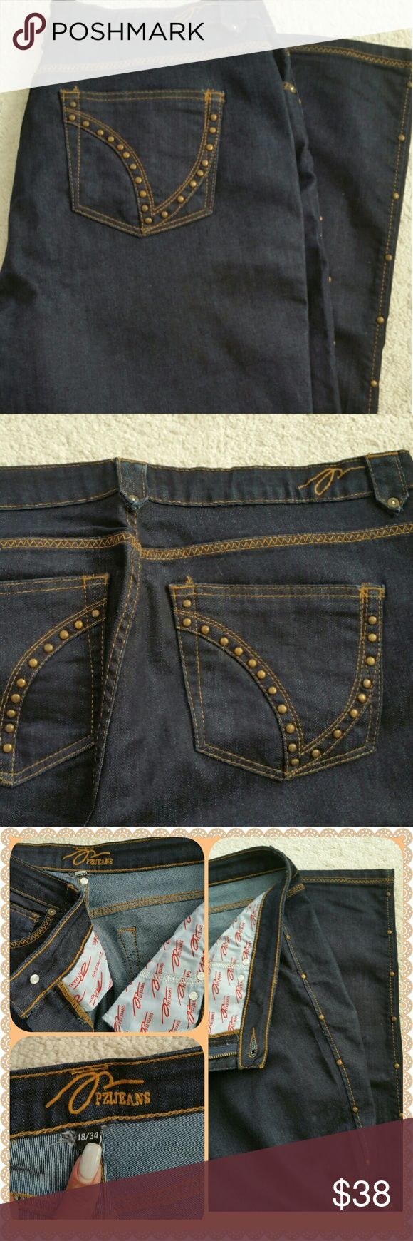 PZI Jeans PZI Jeans are the jeans for women with curves.  The dark washed jeans have 5 pockets, gold studs down the sides of each leg with gold stitching also. Last picture is just to show the fit. PZI Jeans Straight Leg