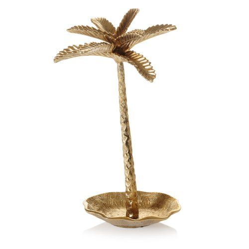 Palm tree brass jewellery stand, exclusive to Oliver Bonas, perfect for displaying your favourite necklaces and bracelets featuring a dish at the bottom for rings and earrings.