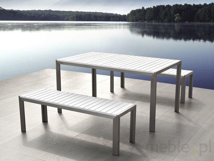 Aluminiowe meble ogrodowe białe z dwiema ławkami, Polywood, NARDO