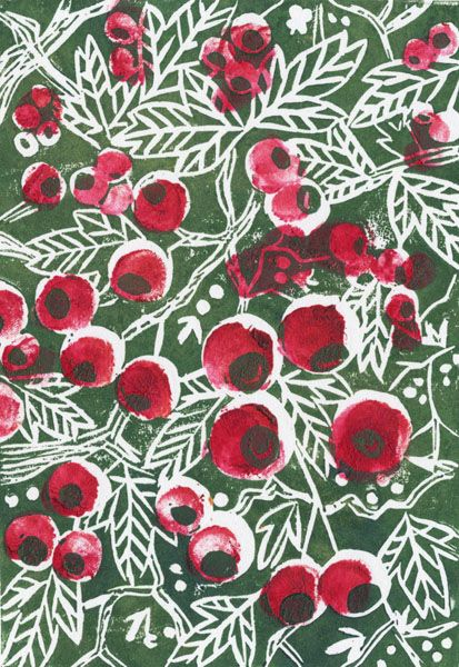 beth knight illustration - Hawthorn lino print.    Would be lovely as wallpaper in a small area.