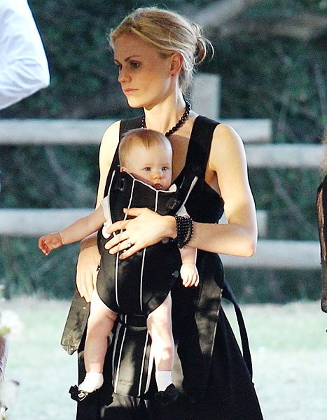 Anna Paquin with one of her twins at a party in Malibu, California on May 12, 2013.