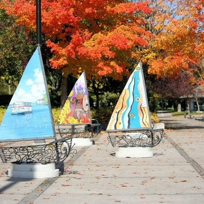 "Orillia's ""Streets Alive"" Project 2011. Local artists paint the sails on hand wrought iron boat bases.  Dozens of these throughout our little city."