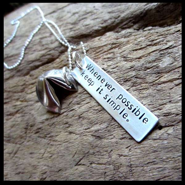 Fortune Cookie Hand Stamped Necklace with Custom Message  Just cuz I'm asian lol