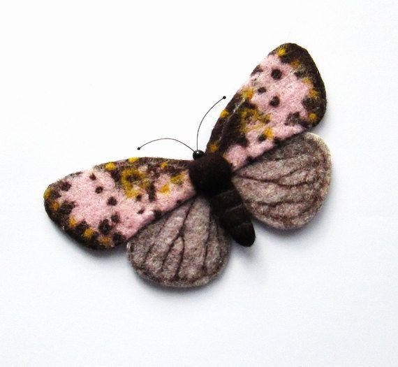 Vilt Butterfly Joseph Scheer nachtvlinders naald vilten handgemaakte broche naald vilten miniaturen Fiber kunst cadeau voor haar nat vilten