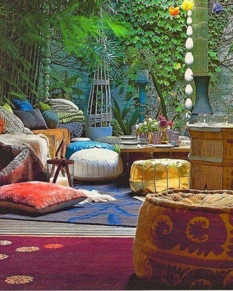 37 Wonderful Bohemian Patio Designs : 37 Beautiful Bohemian Patio Designs With Wooden White Sofa Red Cushions Blue Carpet Flower Decor Hardwood Floor