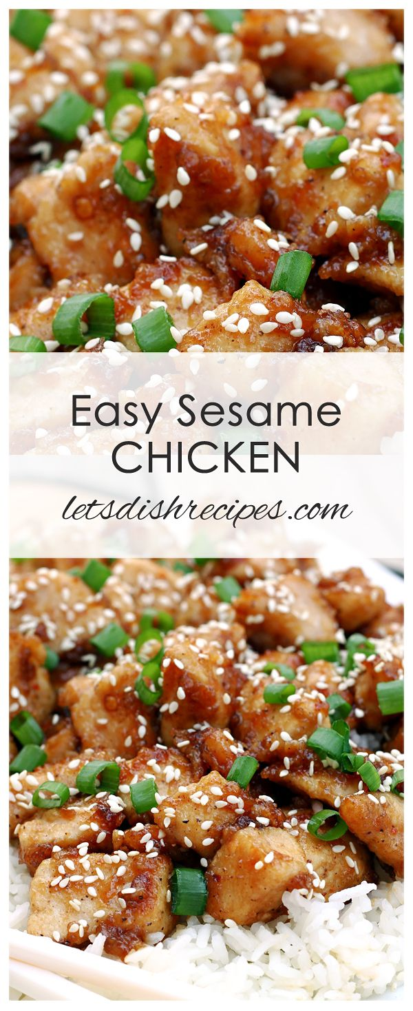 Easy Sesame Chicken Recipe: Tender chicken sauteed with spices and coated in a sweet and spicy honey teriyaki sauce. Better than take-out! #chicken