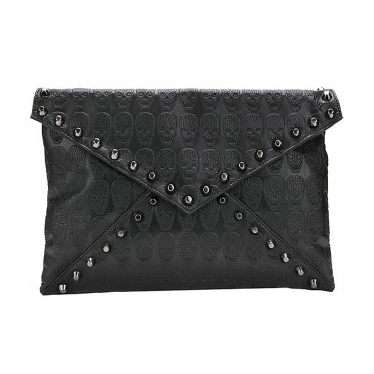 Women's PU Leather Messenger Bags Famous Designer Day Clutch Bag Black Skull Spiked Punk Style Crossbody Bag #>=#>=#>=#>=#> Click on the pin to check out discount price, color, size, shipping, etc. Save and like it!