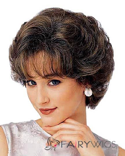 Stunning Short Wavy Brown 10 Inch Human Hair Wigs Hair