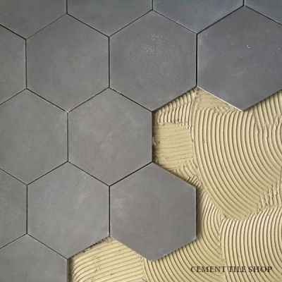Pacific Grey Hexagon another idea - hex on the floor, herringbone in the shower. this tile in gray or white and the cabinetry in the reverse.