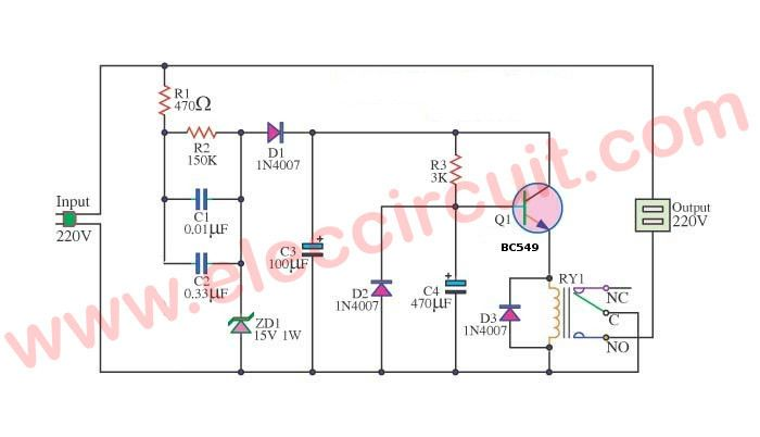 Power On Delay Circuit And Surge Protector Without Transformer Eleccircuit Basic Electronic Circuits Circuit Electronic Gifts
