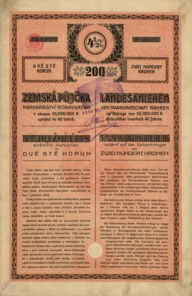 Markrabství Moravské - Zemská 4,50%ní půjčka markrabství Moravského (Landesanlehen der Markgrafschaft Mähren) na 200 Korun. Brno, 1911.